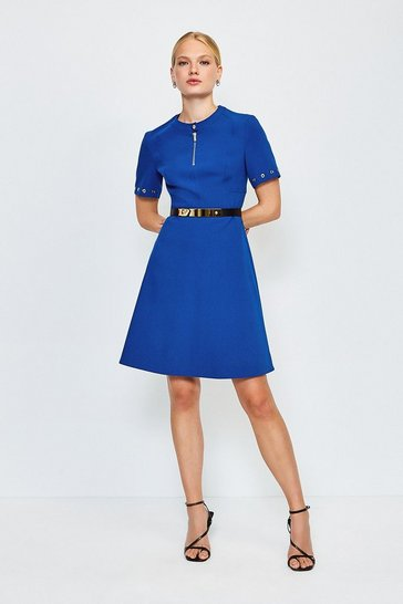 Blue Belted Eyelet Detail Short Sleeve A-Line Dress
