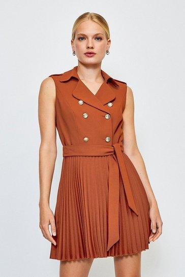 Tan Military Pleated Skirt Dress