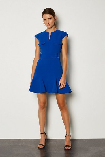 Blue Square D Ring A Line Dress