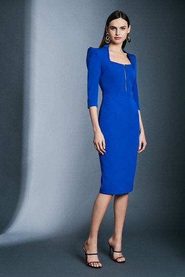 Cobalt Peplum Zip Pencil Dress