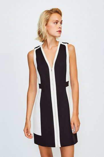 Mono Colour Block Zip Front A-Line Dress