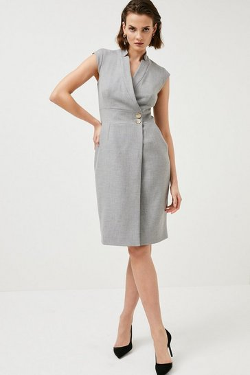 Grey Collar Wrap Popper Dress