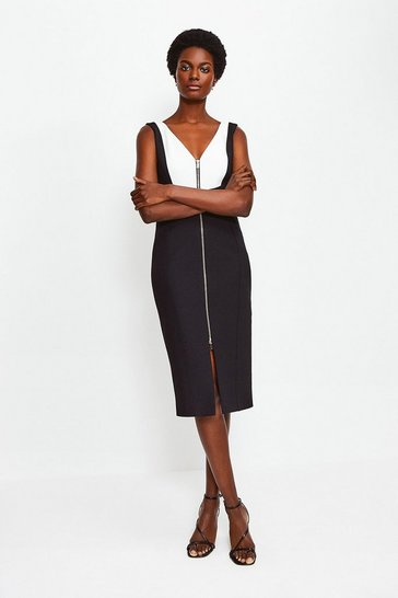Mono Panel Block Pencil Dress