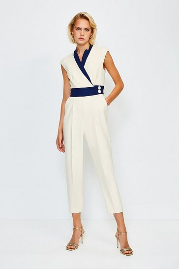 Multi Colour Blocked Popper Waist Jumpsuit