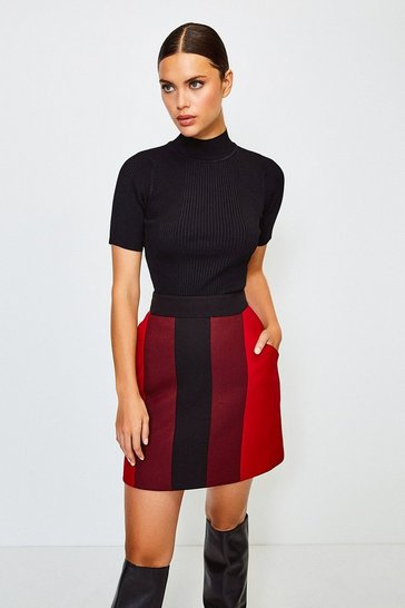 Multi Colour Blocked A-Line Skirt