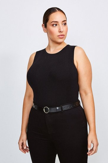 Black Curve Knitted Rib Crew Neck Vest Top