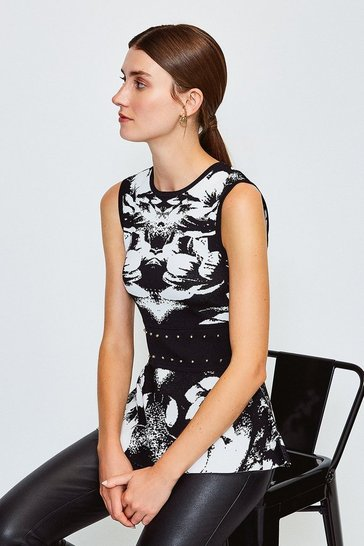 Blackwhite Floral Jacquard Knitted Top