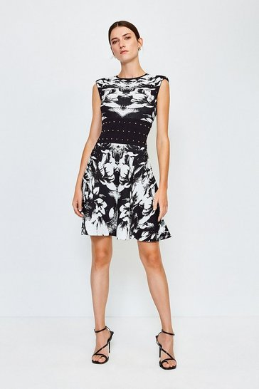 Blackwhite Floral Jacquard Knitted Dress