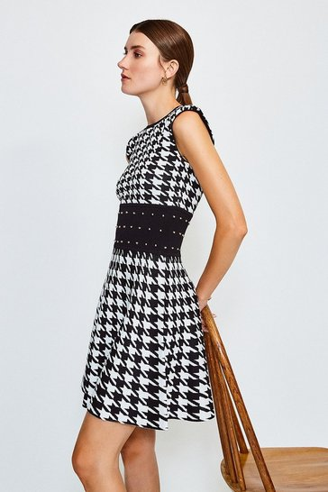 Blackwhite Dogtooth Knitted Jacquard Dress