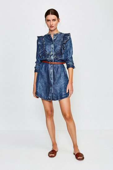 Dark wash Long Sleeve Acid Wash Frill Dress
