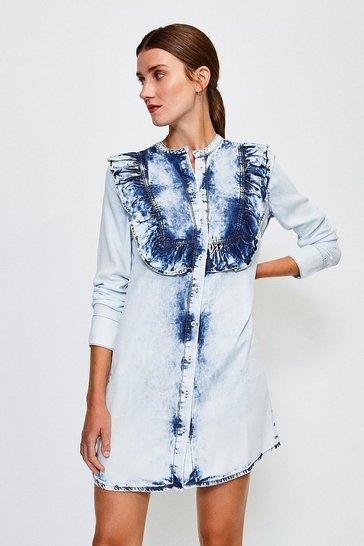 Light wash Long Sleeve Acid Wash Frill Dress