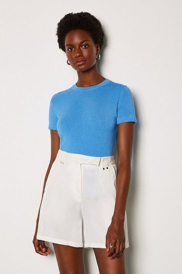 Blue Short Sleeve Knitted Top