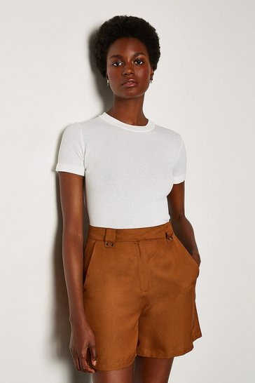 White Short Sleeve Knitted Top