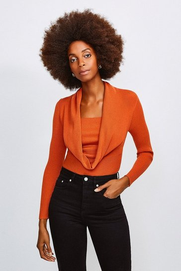 Orange Cowl Neck Rib Knitted Jumper