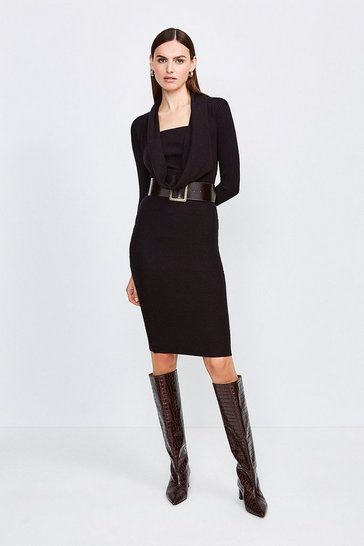Black Cowl Neck Rib Knitted Dress