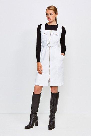 White Sleeveless Denim Zip Front Dress