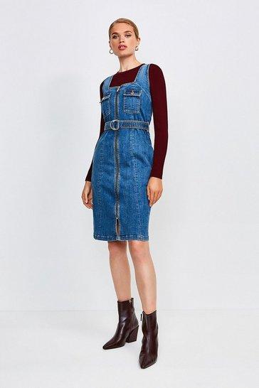Indigo Sleeveless Denim Zip Front Dress
