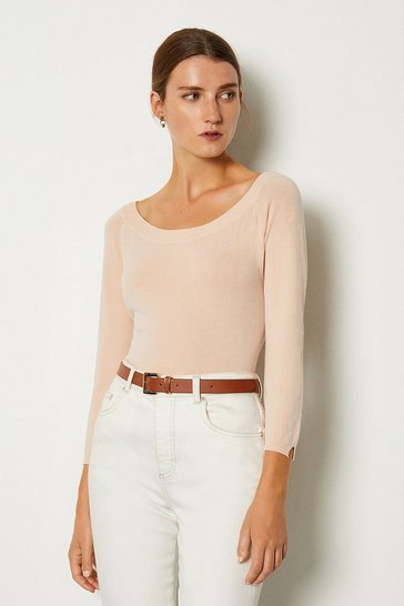 Nude Boat Neck Knitted Keyhole Jumper