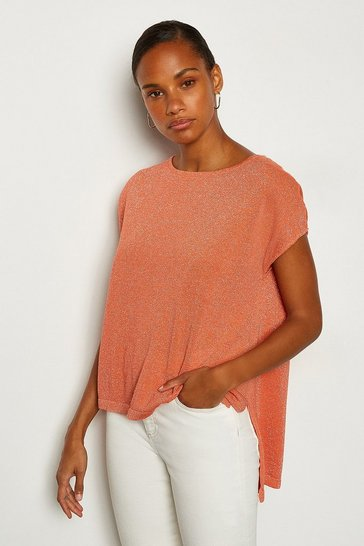 Orange Short Sleeve Knitted Top