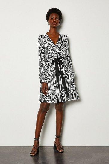 Black Zebra Print Wrap Dress