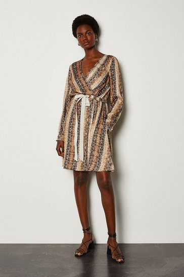 Grey Snake Print Wrap Dress