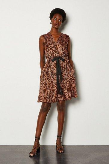 Brown Animal Print Wrap Sleeveless Dress