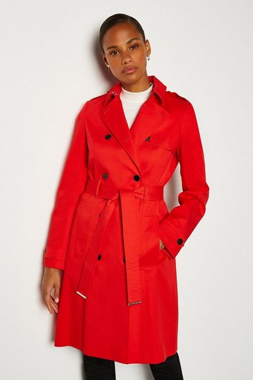 Red Double Breasted Tie Belt Trench Coat