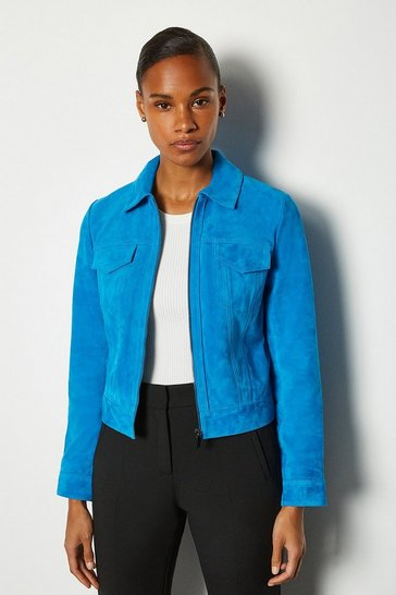 Blue Colourful Suede Jacket