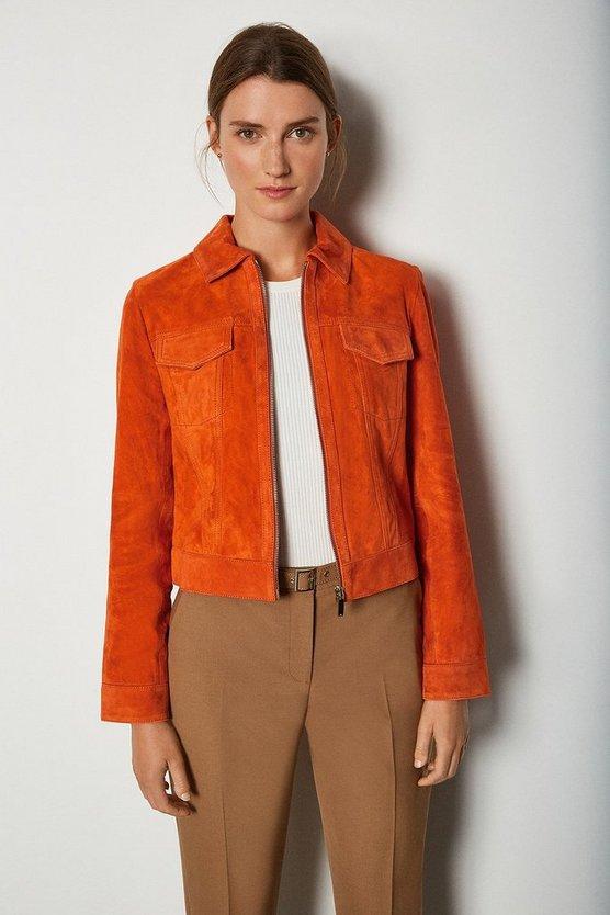 Orange Colourful Suede Jacket