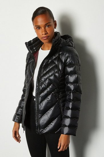 Black Short Packable Puffer Jacket