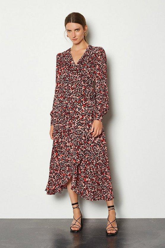Multi Pleated Leopard Print Dress