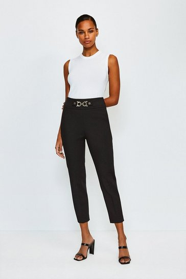 Black Utility Snaffle Trim Trousers