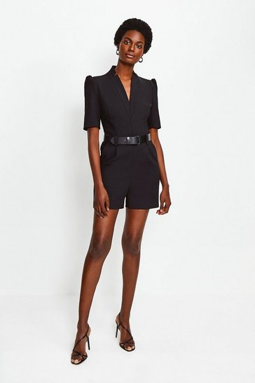 Black Forever Belted Playsuit