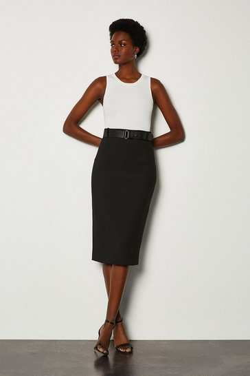 Black Forever Belted Pencil Skirt