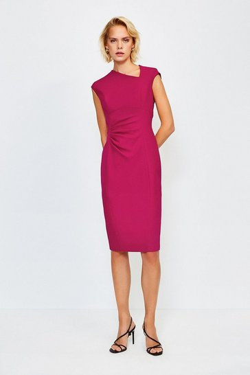 Pink Asymmetric Tuck Detail Dress