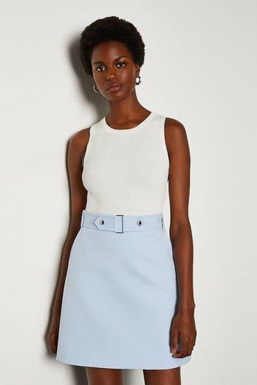 Pale blue Cinch Waist A-Line Skirt