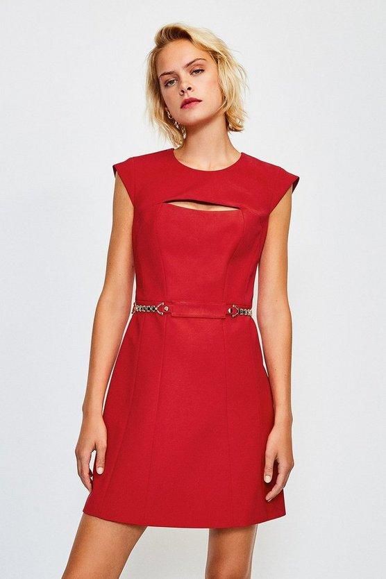 Red Chain Belt A-Line Dress