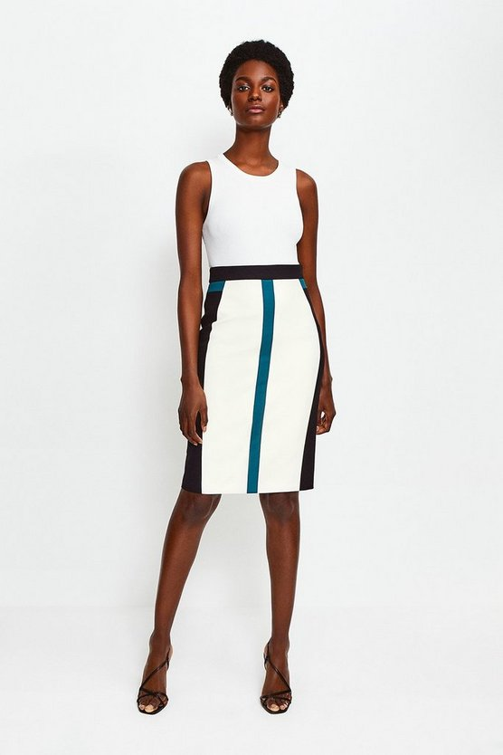 Teal Colour Panelled Pencil Skirt