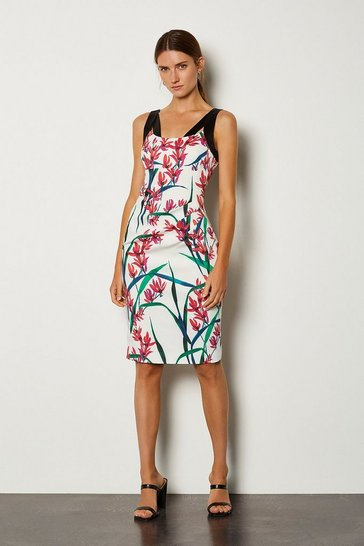 Multi Floral Printed Contrast Strap Dress