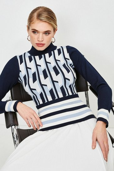 Blue Geo Stripe Knit Jumper