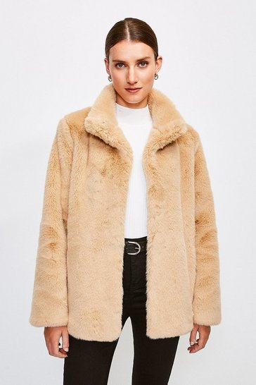 Natural Funnel Neck Faux Fur Jacket