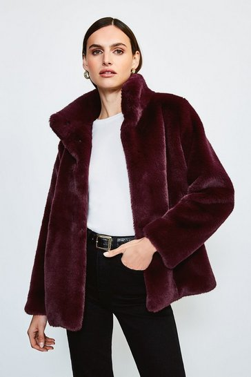 Wine Funnel Neck Faux Fur Jacket
