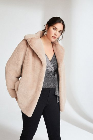 Champagne Curve Wide Collar Faux Fur Jacket