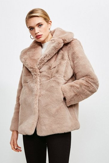 Champagne Wide Collar Faux Fur Jacket