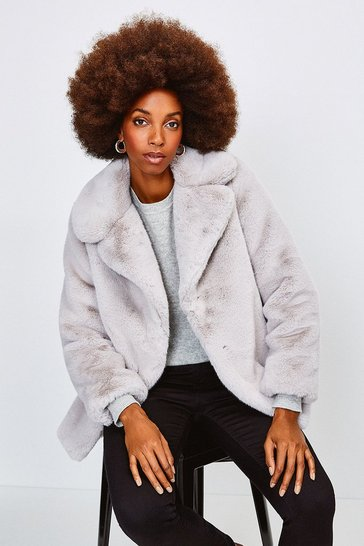 Silver grey Wide Collar Faux Fur Jacket