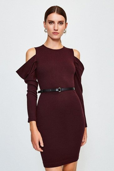 Fig Cold Shoulder Knitted Dress