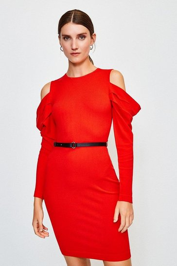 Red Cold Shoulder Knitted Dress