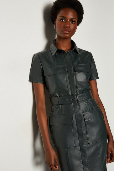 Green Leather Pocket Front Dress