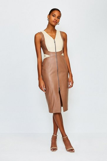 Tan Leather Colour Block Dress