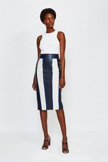 Navy Leather Panelled Colour Block Skirt